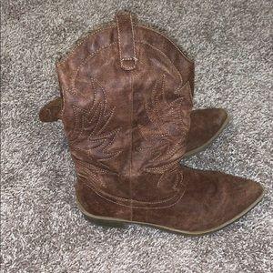 Faux leather cowboy boots